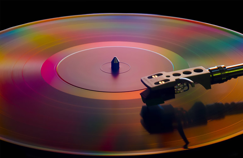 Spinning LP on a record player
