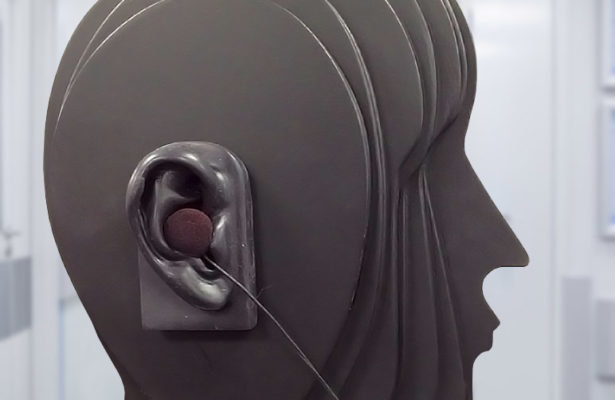 Close up of dummy head for binaural recording