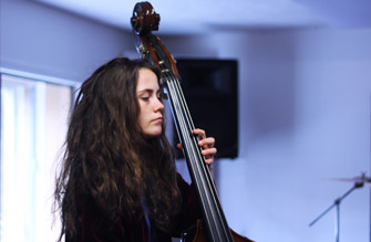 Performing double bass in the Live Room.