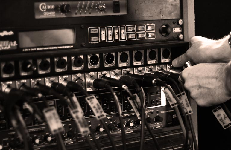 XLR cables being plugged in