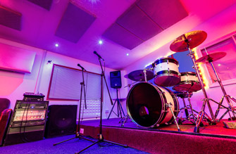 Live Room with coloured lights